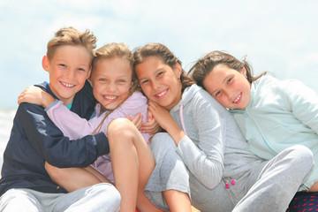 portrait of happy children outdoors
