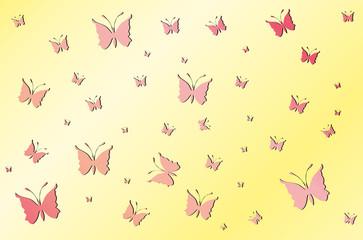 Rose butterflies on yellow wallpaper gradient