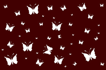 White butterflies on vinous wallpaper gradient