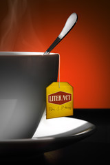 Tea for Literacy. Yellow label.