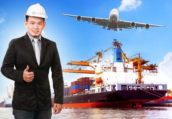 business man and comercial ship with container on port freight c