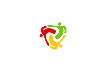 people triangle teamwork group vector logo