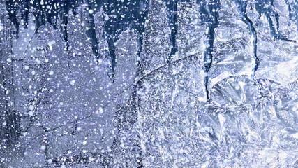 Winter background window frost - 4K