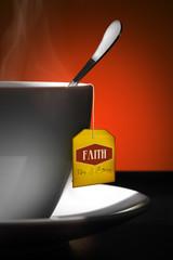 Tea for Faith. Yellow tea label.