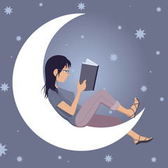 Woman reading a book, sitting on the Moon