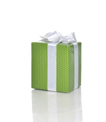 Green Present Gift box with white ribbon for birthday party