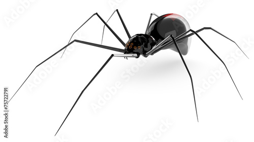 Black glass spider isolated on a white background. - 75722791