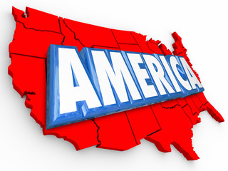 America 3d Word United States Map USA Red White Blue Background