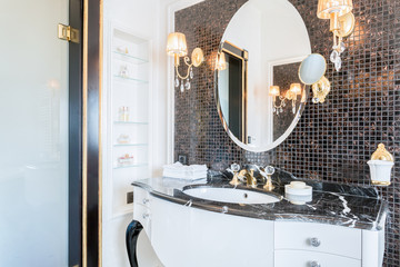 Expensive black and white bathroom