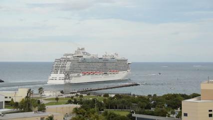 Modern ocean liner departing from Fort Lauderdale, Florida