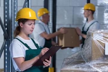 Female engineer controlling work