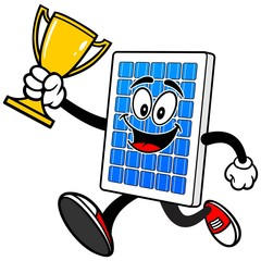 Solar Panel Running with Trophy
