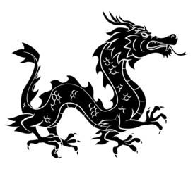 Black Silhouette Of Dragon
