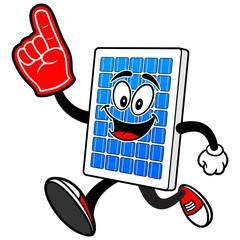 Solar Panel Running with Foam Finger
