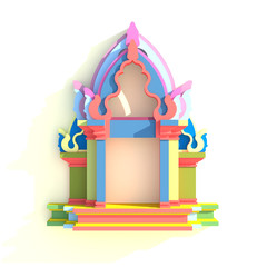 3D evelation of south-east Asian pavilion or temple front view i