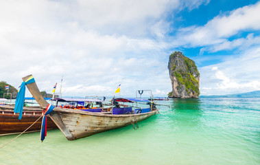 longtail boats and poda island in Thailand