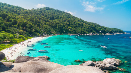 Tourist boats in a bay on Similan islands, Thailand