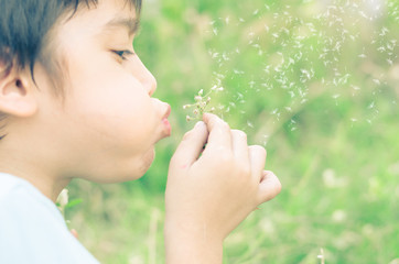 Little boy blow flower in the garden  vintage style