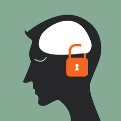 lock closed Brain head and idea