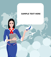 Air Travel: Air hostess holding ticket to the flight, presenting