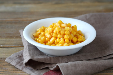 Canned sweet corn in a bowl