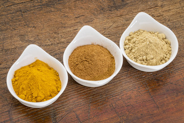 turmeric, ginger and cinnamon