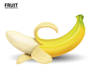 banana on white background.vector