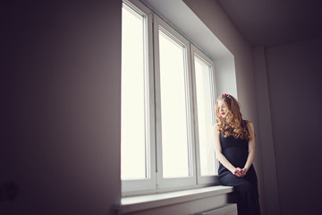 beautiful pregnant woman at home portrait