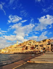 Old Jaffa seaport at sunset