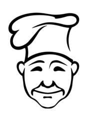 Joyful chef in a high hat