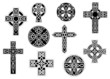 Black and white decorative celtic crosses - 75729555