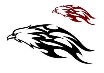 Flying eagle trailing flames