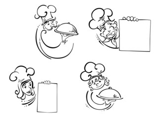 Chefs with food domes and blank cards