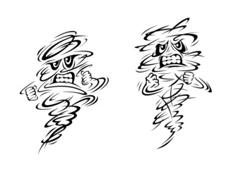 Angry tornado and hurricane characters