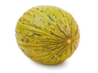 Ripe melon Pela de Sapo isolated on white background.