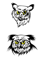 Two fierce looking owls with yellow eyes
