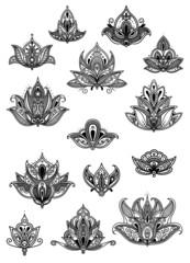 Paisley vintage flower motifs set