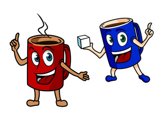 Two happy cartoon mugs of coffee