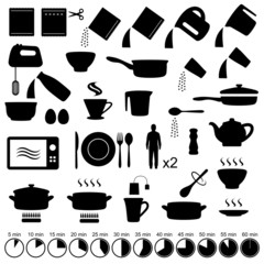 vector set icons cooking manual instructions,