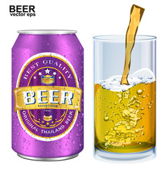Beer Label vector visual on aluminum drinks can, ideal for beer,