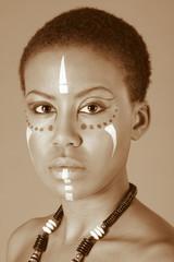 indigenous Afro American woman in tribal facepaint
