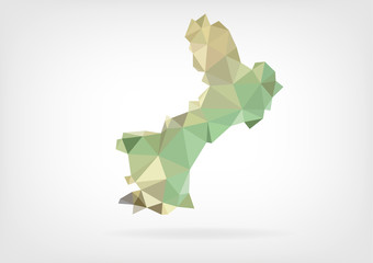 Low Poly map of french region Languedoc-Roussillon