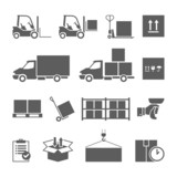 Warehouse transportation and delivery icons set - 75730500