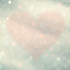 Color abstract bokeh with blurred heart