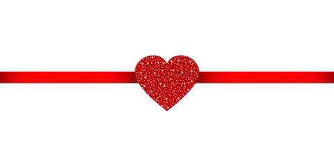 Red Heart Glitter Ribbon Horizontal