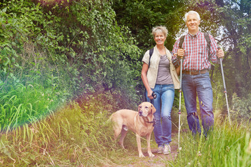 Paar Senioren wandert mit Hund