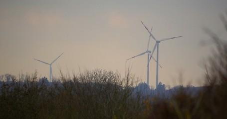 4K, 3 Power Poles, Wind Mills, Power Plant