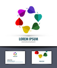 Colored leaves in a circle. Logo, icon, emblem, template,