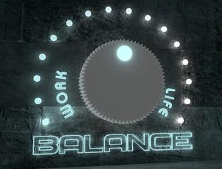 balance adjust between work and life. regulator neon shine