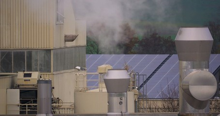 4K, Chemical factory with smoke stack, air pollution